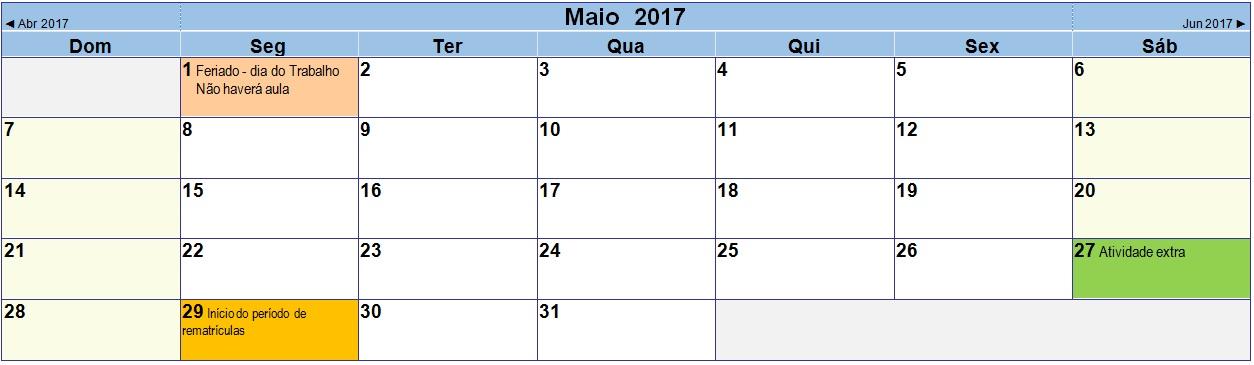 2017 05 Calendário