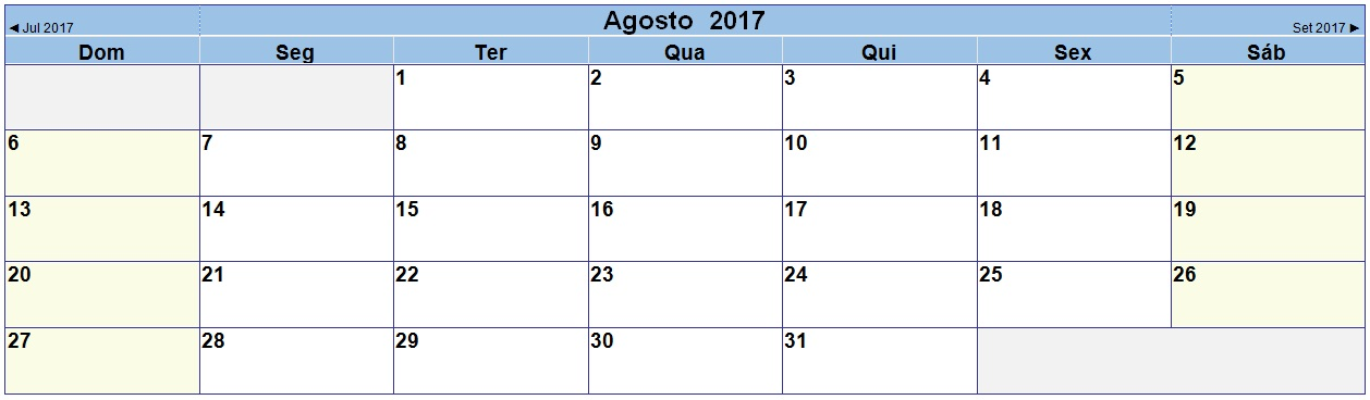 2017 08 Calendário