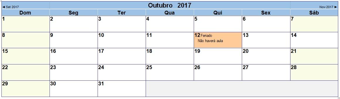 2017 10 Calendário