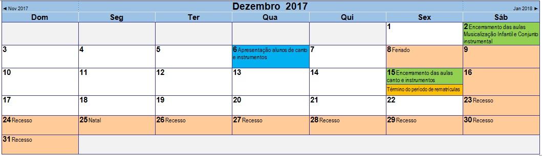 2017 12 Calendário